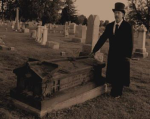 Man at coffin