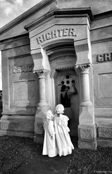 Children outside crypt